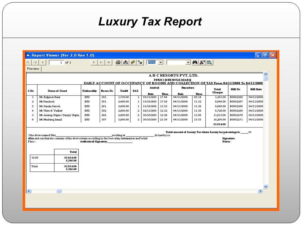 Luxury Tax Report