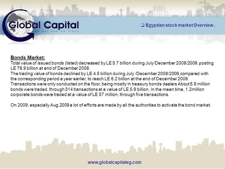 www.globalcapitaleg.com Bonds Market : Total value of issued bonds (listed) decreased by LE 5.7 billion during July/December 2008/2009, posting LE 78.9 billion at end of December 2008.