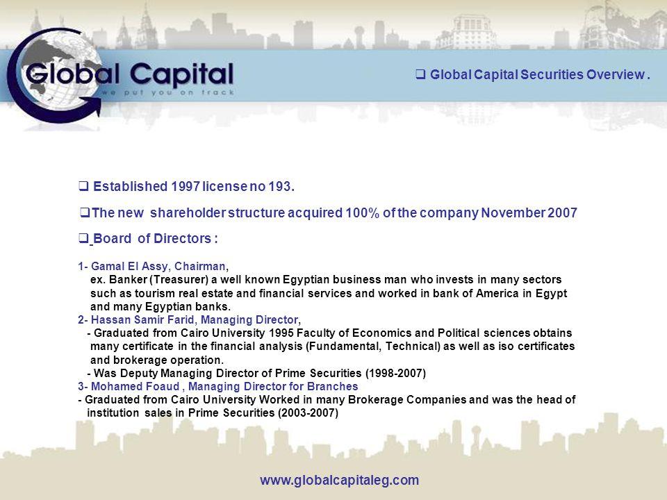  Board of Directors : 1- Gamal El Assy, Chairman, ex.