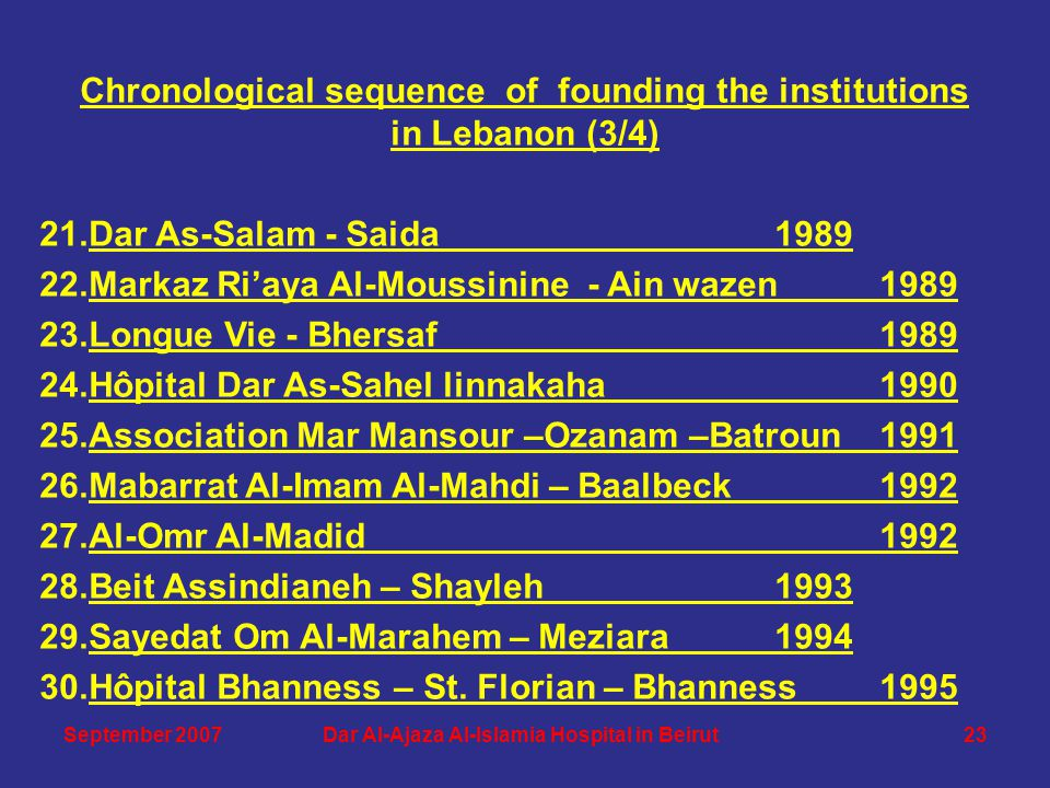 Chronological sequence of founding the institutions in Lebanon (3/4) 21.Dar As-Salam - Saida 1989 22.Markaz Ri'aya Al-Moussinine - Ain wazen 1989 23.Longue Vie - Bhersaf1989 24.Hôpital Dar As-Sahel linnakaha 1990 25.Association Mar Mansour –Ozanam –Batroun1991 26.Mabarrat Al-Imam Al-Mahdi – Baalbeck1992 27.Al-Omr Al-Madid 1992 28.Beit Assindianeh – Shayleh1993 29.Sayedat Om Al-Marahem – Meziara1994 30.Hôpital Bhanness – St.
