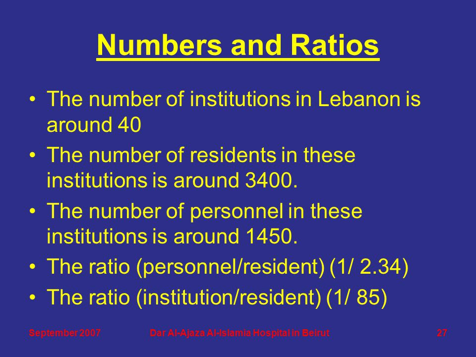 Numbers and Ratios The number of institutions in Lebanon is around 40 The number of residents in these institutions is around 3400. The number of pers