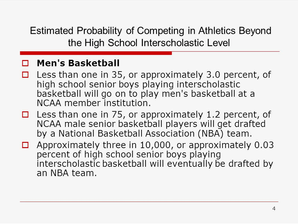 4 Estimated Probability of Competing in Athletics Beyond the High School Interscholastic Level  Men s Basketball  Less than one in 35, or approximately 3.0 percent, of high school senior boys playing interscholastic basketball will go on to play men s basketball at a NCAA member institution.