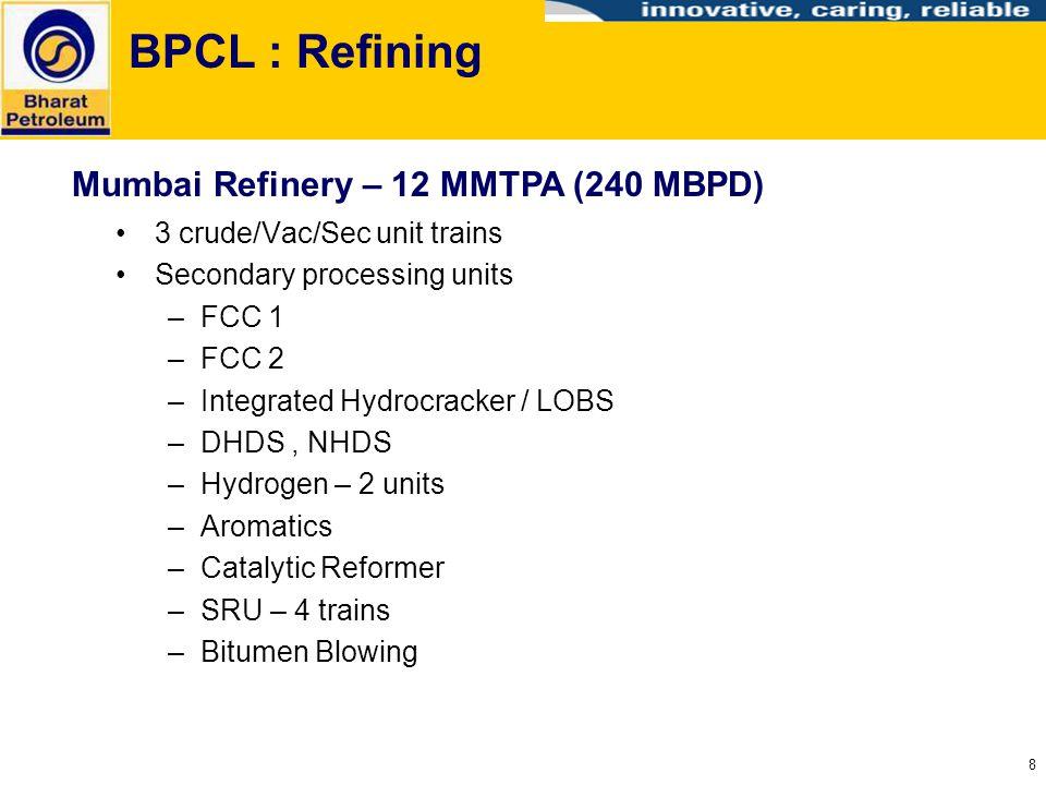 8 BPCL : Refining 3 crude/Vac/Sec unit trains Secondary processing units –FCC 1 –FCC 2 –Integrated Hydrocracker / LOBS –DHDS, NHDS –Hydrogen – 2 units