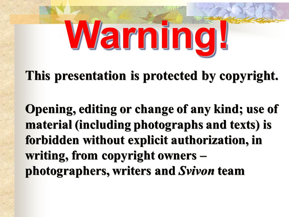 This presentation is protected by copyright. Opening, editing or change of any kind; use of material (including photographs and texts) is forbidden wi