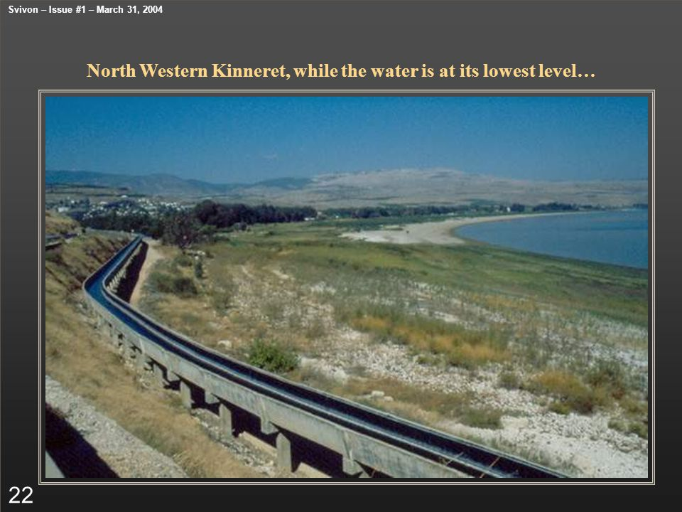 North Western Kinneret, while the water is at its lowest level… 22 Svivon – Issue #1 – March 31, 2004