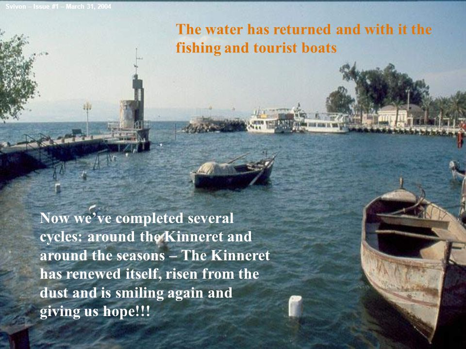 The water has returned and with it the fishing and tourist boats Now we've completed several cycles: around the Kinneret and around the seasons – The Kinneret has renewed itself, risen from the dust and is smiling again and giving us hope!!.