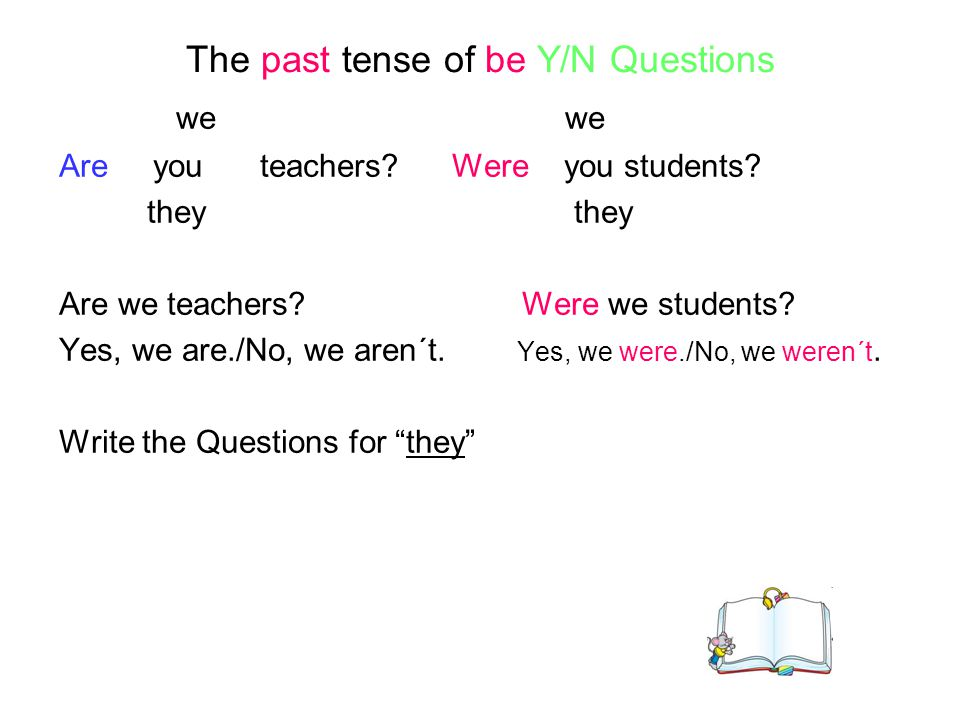 The past tense of be Y/N Questions we we Are you teachers? Were you students? they they Are we teachers? Were we students? Yes, we are./No, we aren´t.
