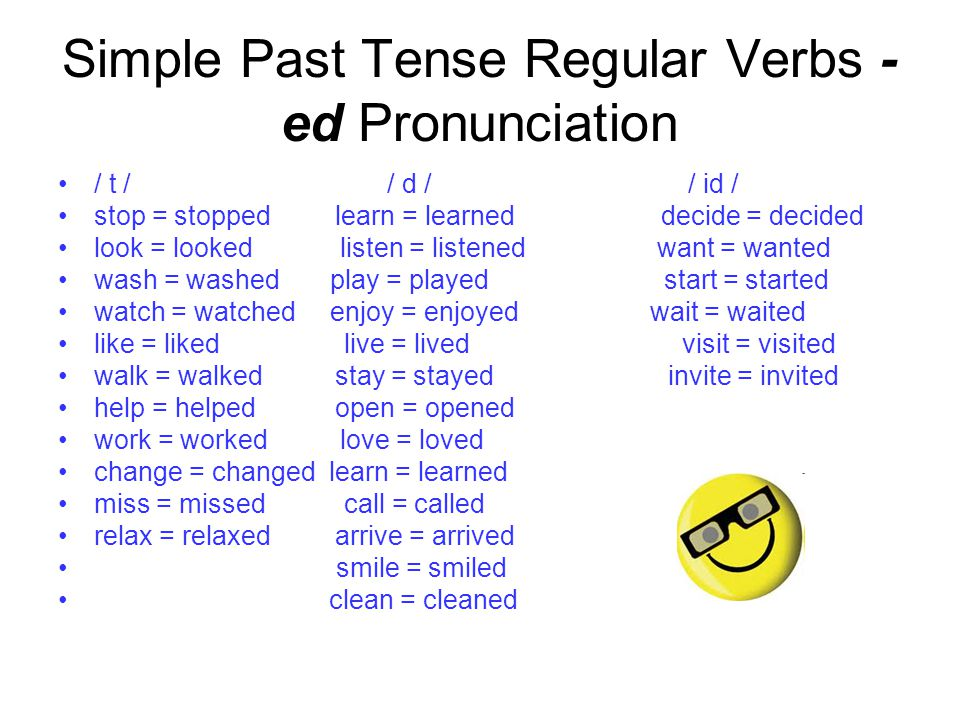 Simple Past Tense Regular Verbs - ed Pronunciation / t / / d / / id / stop = stopped learn = learned decide = decided look = looked listen = listened