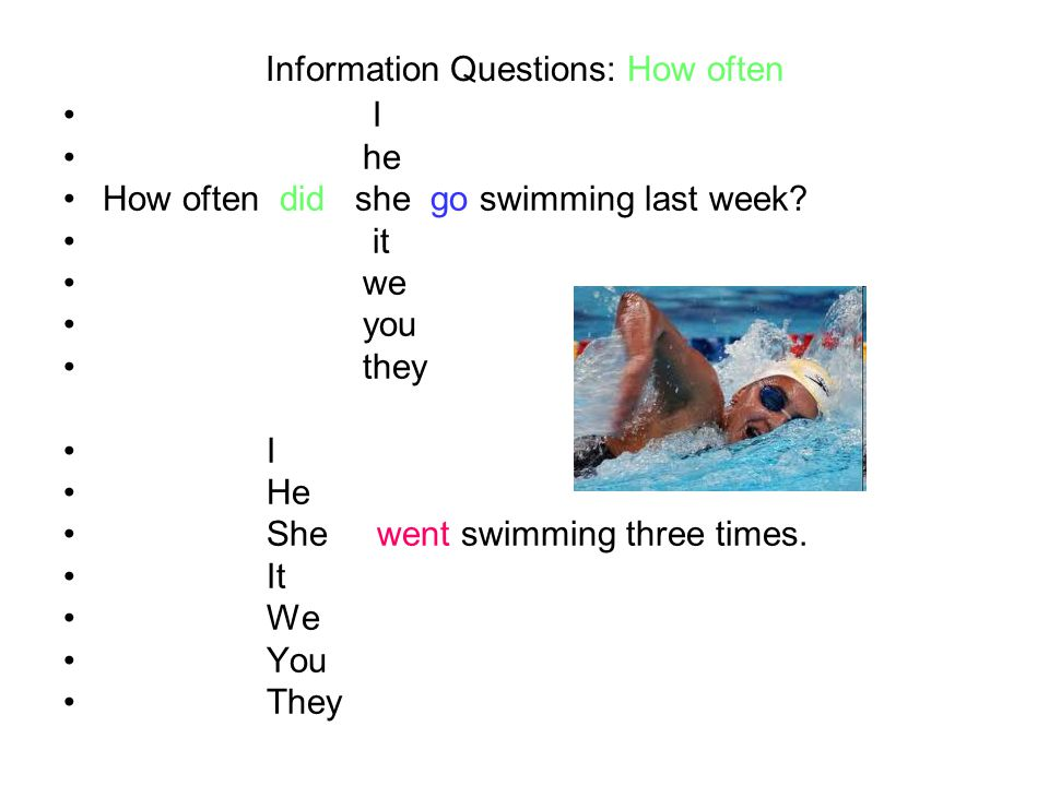 Information Questions: How often I he How often did she go swimming last week? it we you they I He She went swimming three times. It We You They