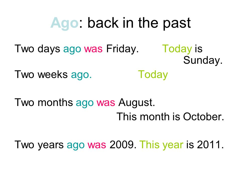 Ago: back in the past Two days ago was Friday. Today is Sunday.