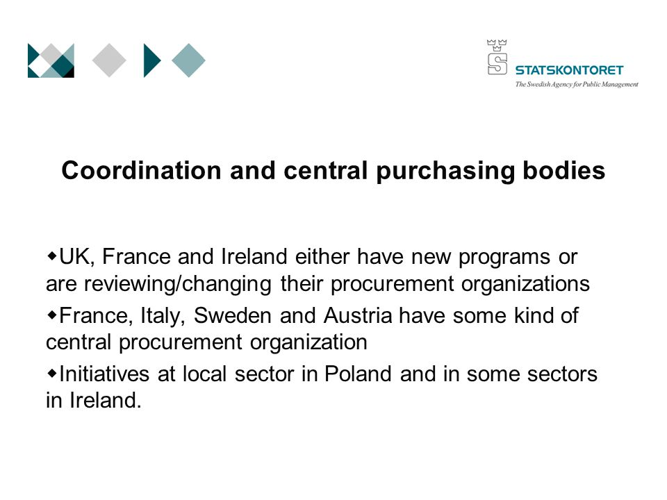 Coordination and central purchasing bodies  UK, France and Ireland either have new programs or are reviewing/changing their procurement organizations  France, Italy, Sweden and Austria have some kind of central procurement organization  Initiatives at local sector in Poland and in some sectors in Ireland.