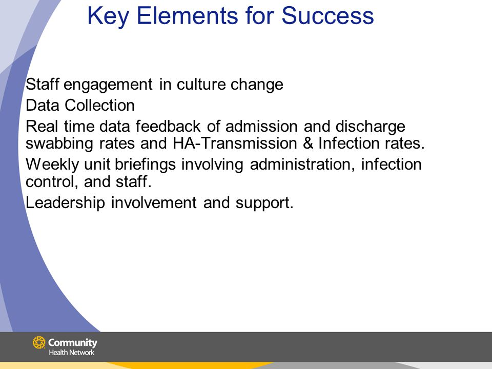 Key Elements for Success Staff engagement in culture change Data Collection Real time data feedback of admission and discharge swabbing rates and HA-T