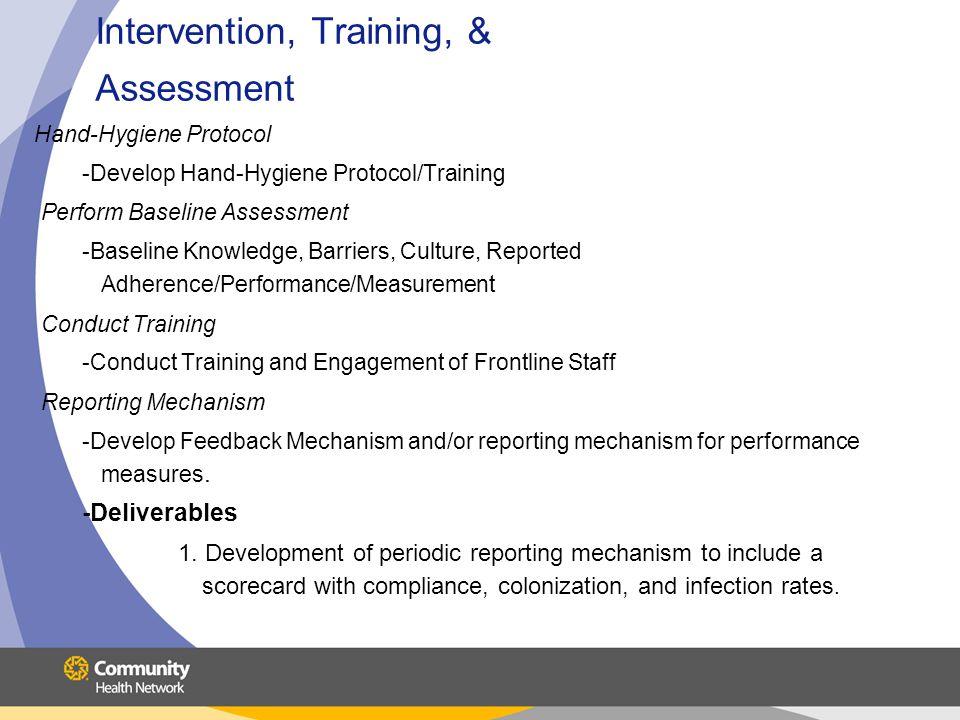 Intervention, Training, & Assessment Hand-Hygiene Protocol -Develop Hand-Hygiene Protocol/Training Perform Baseline Assessment -Baseline Knowledge, Ba