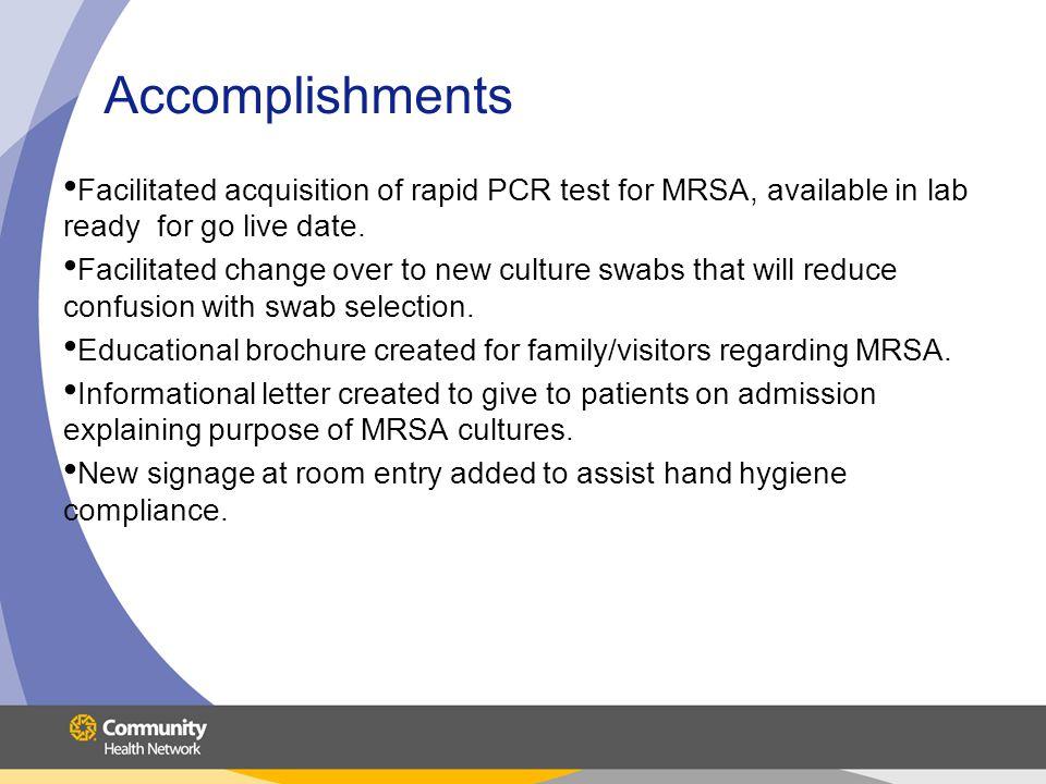 Accomplishments Standardized process for obtaining isolation carts.