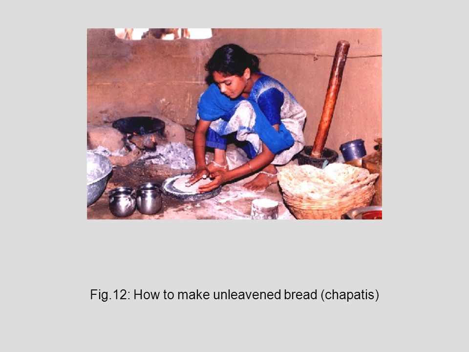 Fig.12: How to make unleavened bread (chapatis)