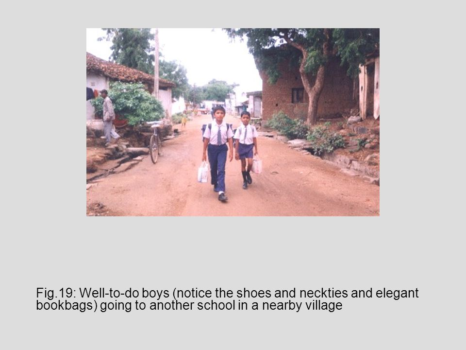 Fig.19: Well-to-do boys (notice the shoes and neckties and elegant bookbags) going to another school in a nearby village