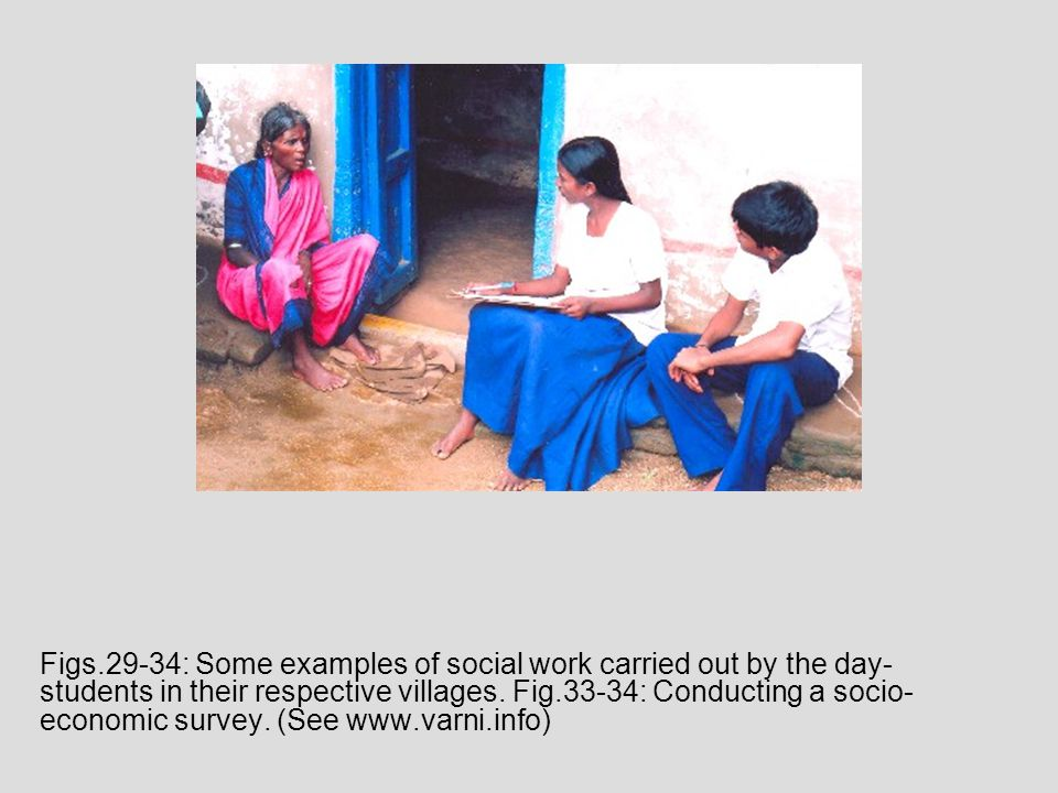 Figs.29-34: Some examples of social work carried out by the day- students in their respective villages.