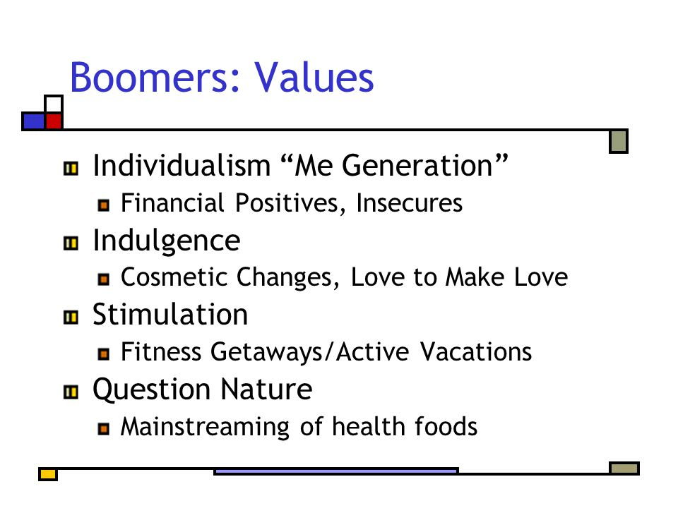"Boomers: Values Individualism ""Me Generation"" Financial Positives, Insecures Indulgence Cosmetic Changes, Love to Make Love Stimulation Fitness Getawa"
