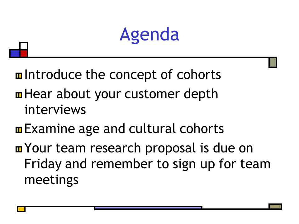 Agenda Introduce the concept of cohorts Hear about your customer depth interviews Examine age and cultural cohorts Your team research proposal is due