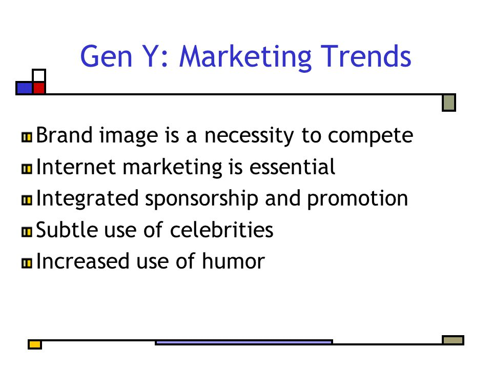 Gen Y: Marketing Trends Brand image is a necessity to compete Internet marketing is essential Integrated sponsorship and promotion Subtle use of celeb