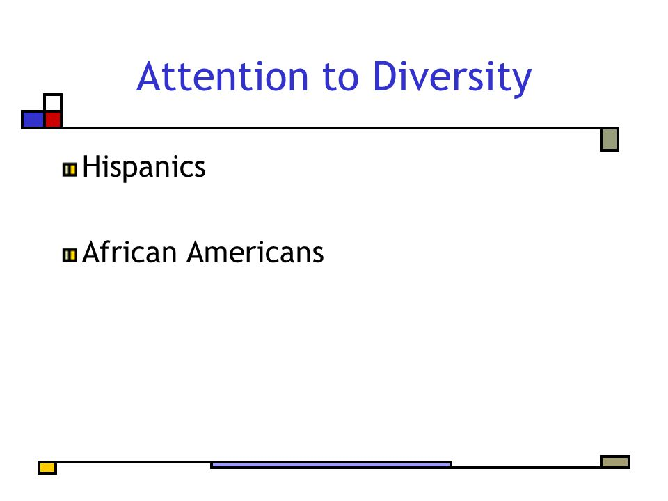 Attention to Diversity Hispanics African Americans