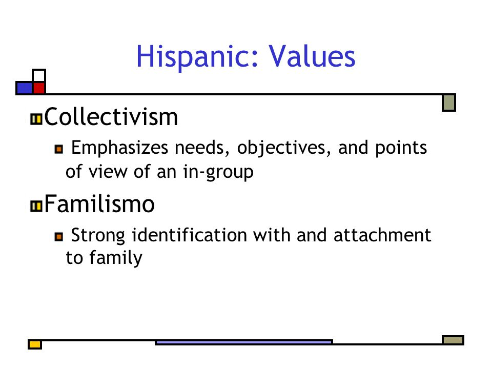 Hispanic: Values Collectivism Emphasizes needs, objectives, and points of view of an in-group Familismo Strong identification with and attachment to f