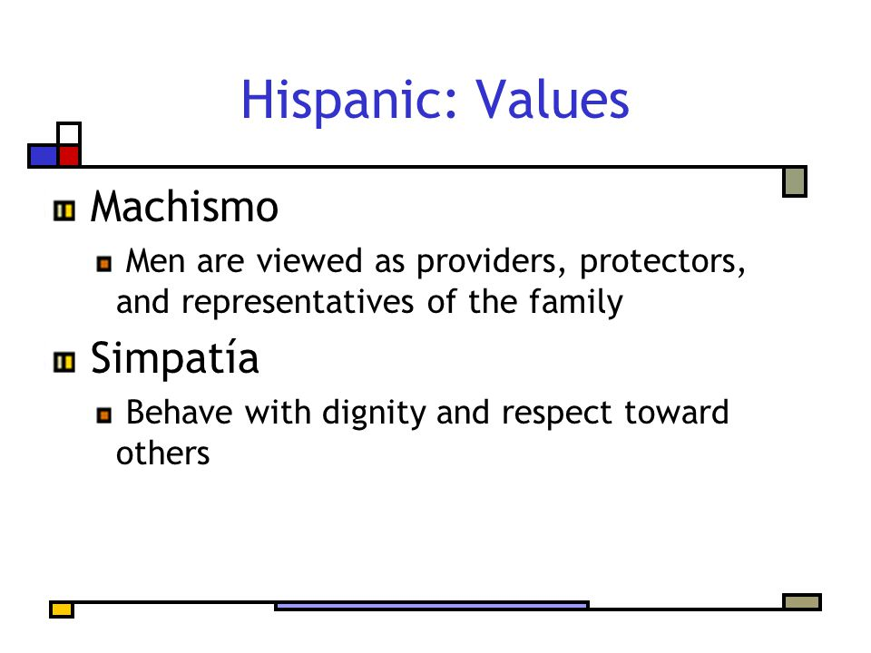 Hispanic: Values Machismo Men are viewed as providers, protectors, and representatives of the family Simpatía Behave with dignity and respect toward o