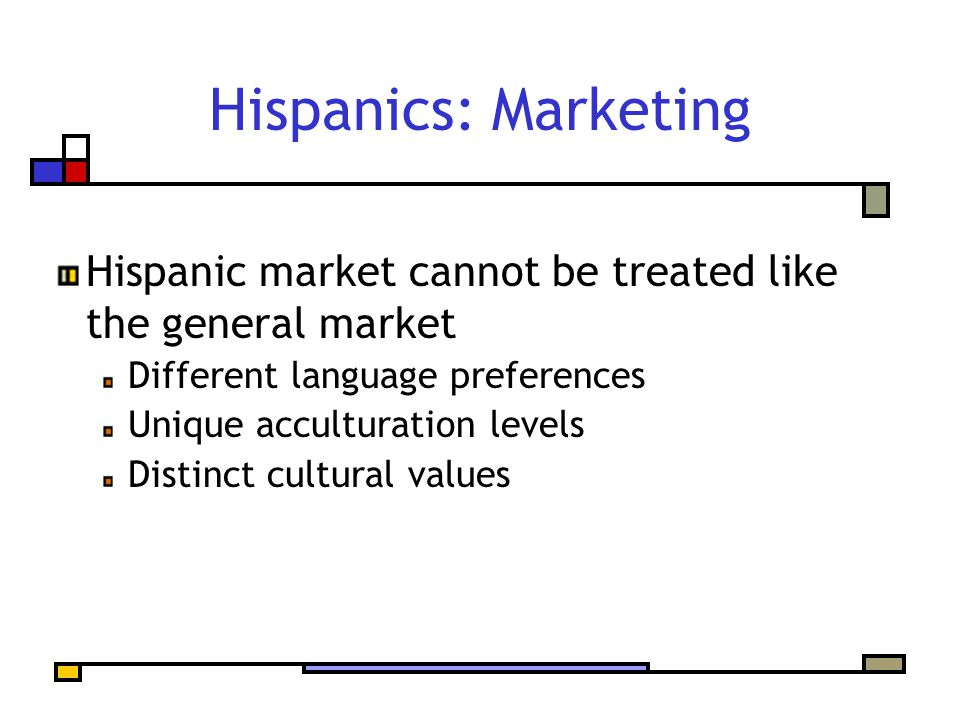 Hispanics: Marketing Hispanic market cannot be treated like the general market Different language preferences Unique acculturation levels Distinct cul