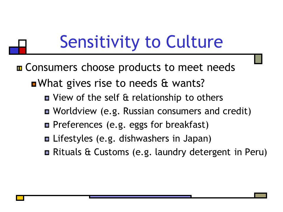 Sensitivity to Culture Consumers choose products to meet needs What gives rise to needs & wants? View of the self & relationship to others Worldview (