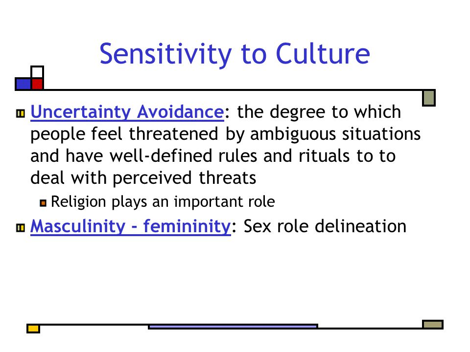 Sensitivity to Culture Uncertainty Avoidance: the degree to which people feel threatened by ambiguous situations and have well-defined rules and ritua