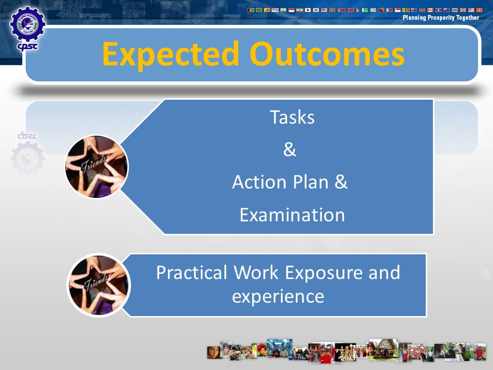 Expected Outcomes Tasks & Action Plan & Examination Practical Work Exposure and experience