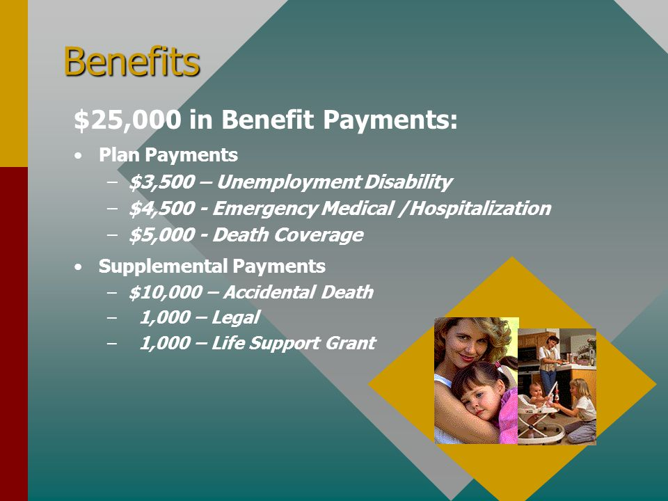 Benefits $25,000 in Benefit Payments: Plan Payments – –$3,500 – Unemployment Disability – –$4,500 - Emergency Medical /Hospitalization – –$5,000 - Death Coverage Supplemental Payments – –$10,000 – Accidental Death – – 1,000 – Legal – – 1,000 – Life Support Grant