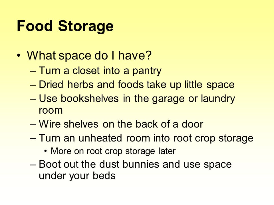Food Storage What space do I have.