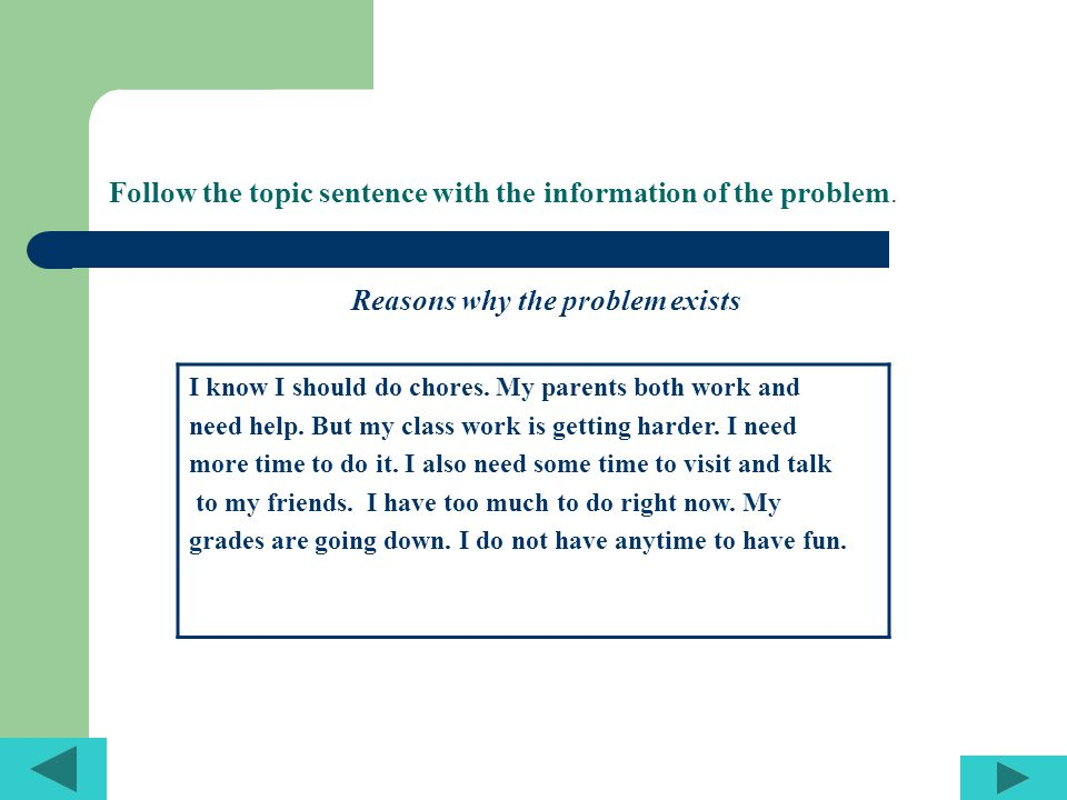 Follow the topic sentence with the information of the problem. Reasons why the problem exists I know I should do chores. My parents both work and need
