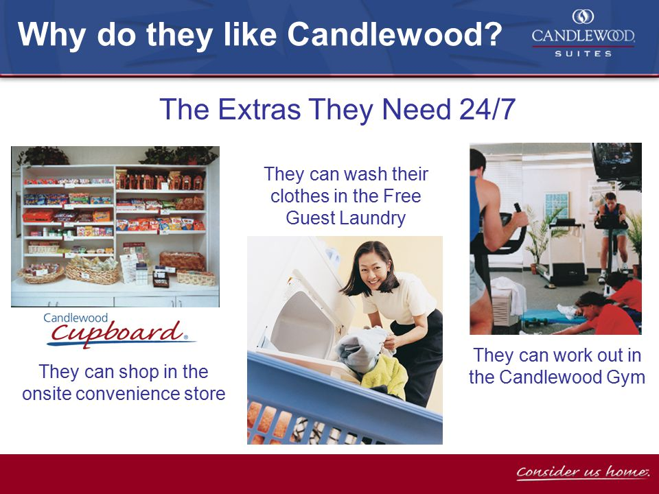 They can shop in the onsite convenience store The Extras They Need 24/7 Why do they like Candlewood.