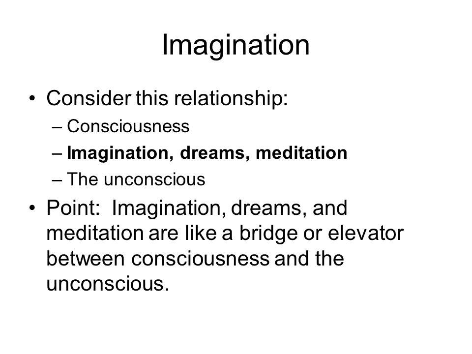Imagination Consider this relationship: –Consciousness –Imagination, dreams, meditation –The unconscious Point: Imagination, dreams, and meditation ar
