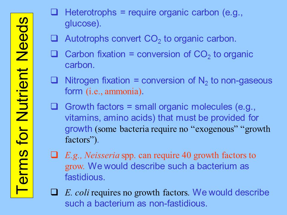 Terms for Nutrient Needs  Heterotrophs = require organic carbon (e.g., glucose).