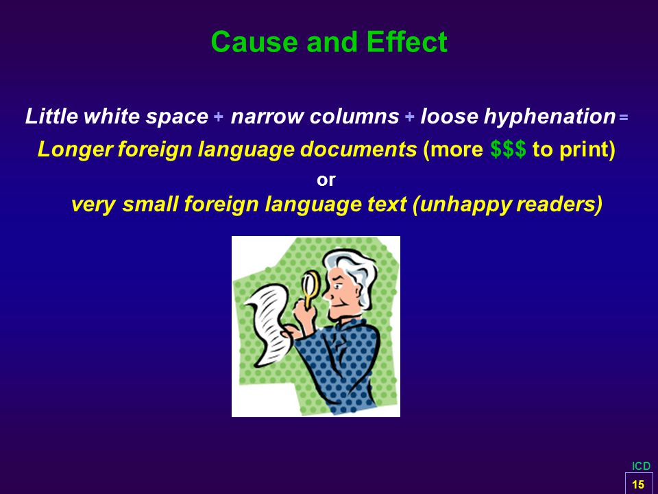 ICD Cause and Effect Little white space + narrow columns + loose hyphenation = Longer foreign language documents (more $$$ to print) or very small for