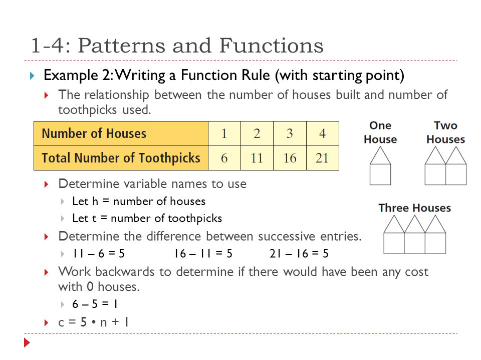  Example 2: Writing a Function Rule (with starting point)  The relationship between the number of houses built and number of toothpicks used.