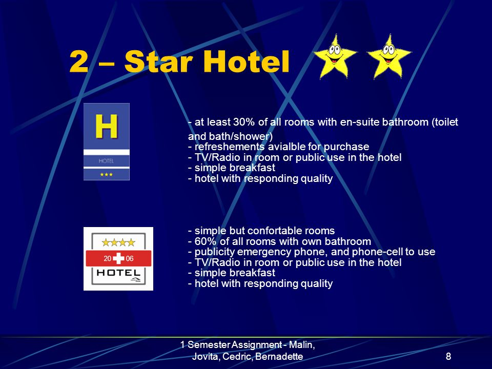 1 Semester Assignment - Malin, Jovita, Cedric, Bernadette8 2 – Star Hotel - at least 30% of all rooms with en-suite bathroom (toilet and bath/shower) - refreshements avialble for purchase - TV/Radio in room or public use in the hotel - simple breakfast - hotel with responding quality - simple but confortable rooms - 60% of all rooms with own bathroom - publicity emergency phone, and phone-cell to use - TV/Radio in room or public use in the hotel - simple breakfast - hotel with responding quality