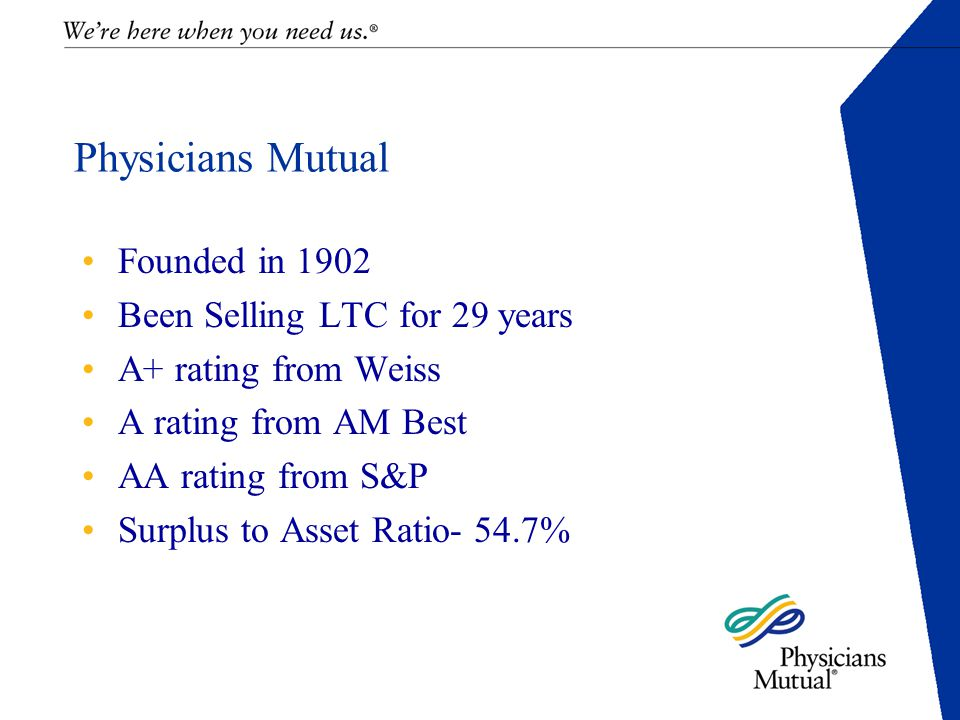 Physicians Mutual Founded in 1902 Been Selling LTC for 29 years A+ rating from Weiss A rating from AM Best AA rating from S&P Surplus to Asset Ratio- 54.7%