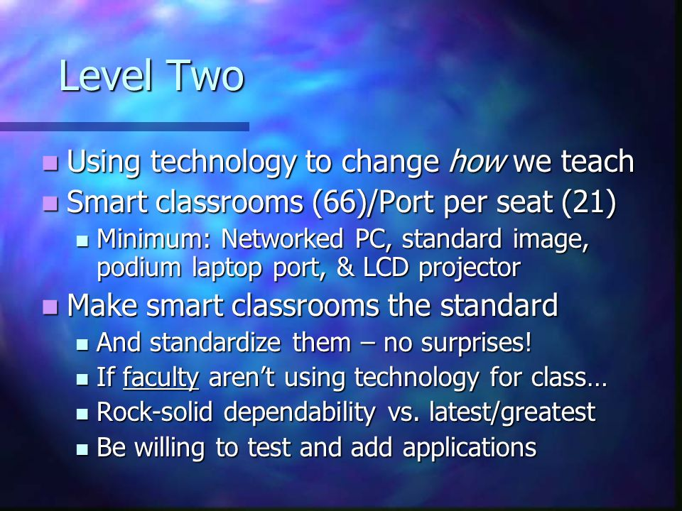 Level Two Using technology to change how we teach Using technology to change how we teach Smart classrooms (66)/Port per seat (21) Smart classrooms (66)/Port per seat (21) Minimum: Networked PC, standard image, podium laptop port, & LCD projector Minimum: Networked PC, standard image, podium laptop port, & LCD projector Make smart classrooms the standard Make smart classrooms the standard And standardize them – no surprises.