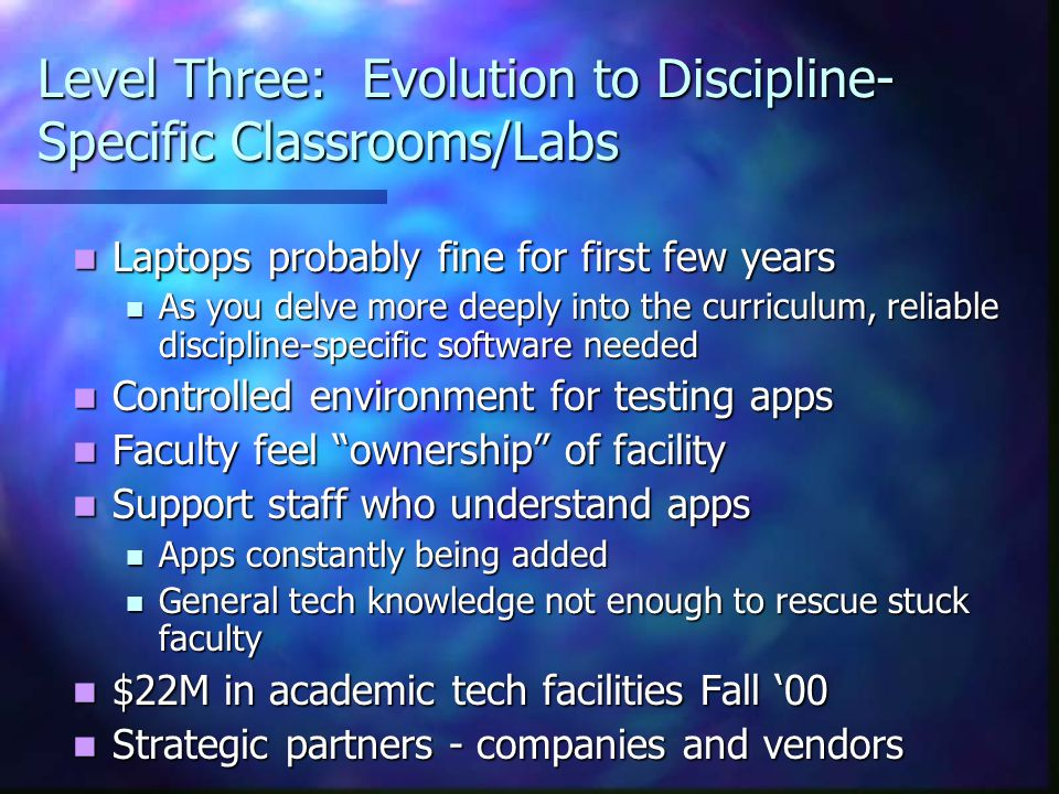 Level Three: Evolution to Discipline- Specific Classrooms/Labs Laptops probably fine for first few years Laptops probably fine for first few years As you delve more deeply into the curriculum, reliable discipline-specific software needed As you delve more deeply into the curriculum, reliable discipline-specific software needed Controlled environment for testing apps Controlled environment for testing apps Faculty feel ownership of facility Faculty feel ownership of facility Support staff who understand apps Support staff who understand apps Apps constantly being added Apps constantly being added General tech knowledge not enough to rescue stuck faculty General tech knowledge not enough to rescue stuck faculty $22M in academic tech facilities Fall '00 $22M in academic tech facilities Fall '00 Strategic partners - companies and vendors Strategic partners - companies and vendors