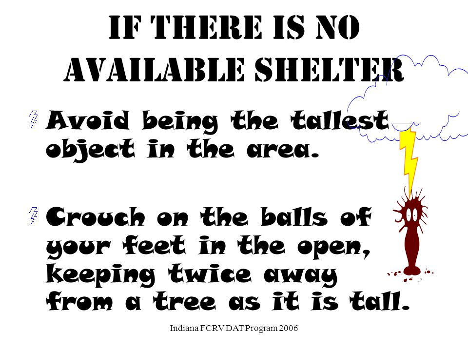 DO NOT TAKE SHELTER UNDER A TREE!!!! Indiana FCRV DAT Program 2006