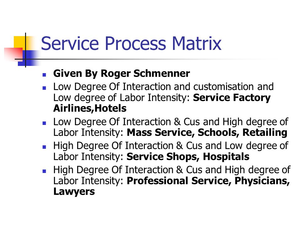 Service Process Matrix Given By Roger Schmenner Low Degree Of Interaction and customisation and Low degree of Labor Intensity: Service Factory Airlines,Hotels Low Degree Of Interaction & Cus and High degree of Labor Intensity: Mass Service, Schools, Retailing High Degree Of Interaction & Cus and Low degree of Labor Intensity: Service Shops, Hospitals High Degree Of Interaction & Cus and High degree of Labor Intensity: Professional Service, Physicians, Lawyers