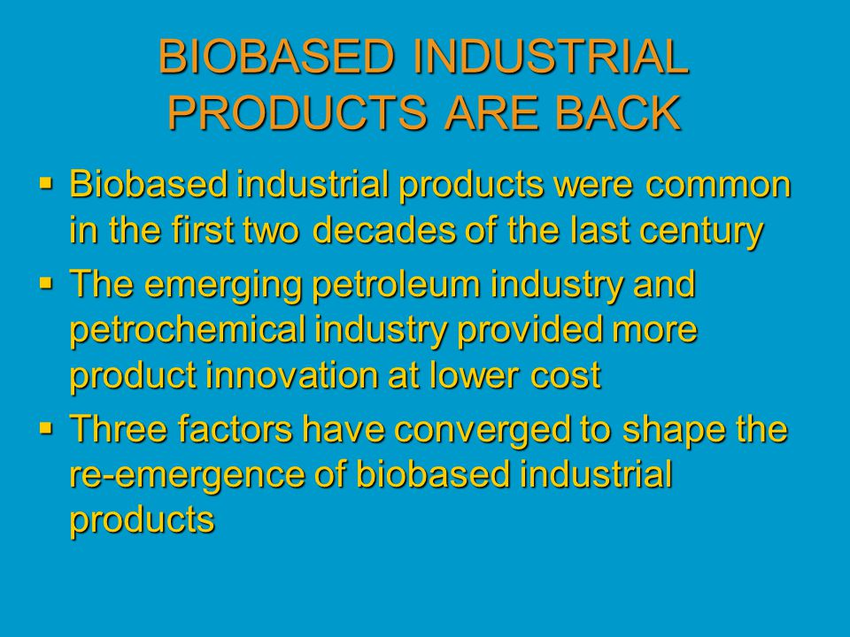 A BIOBASED PROCUREMENT PREFERENCE PROGRAM A BIOBASED PROCUREMENT PREFERENCE PROGRAM  Focus of presentation will now shift to a preferred procurement program for biobased products affecting all Federal agencies and their contractors  Two states have enacted legislation modeled after the Federal program  A number of countries are also reviewing the U.S.