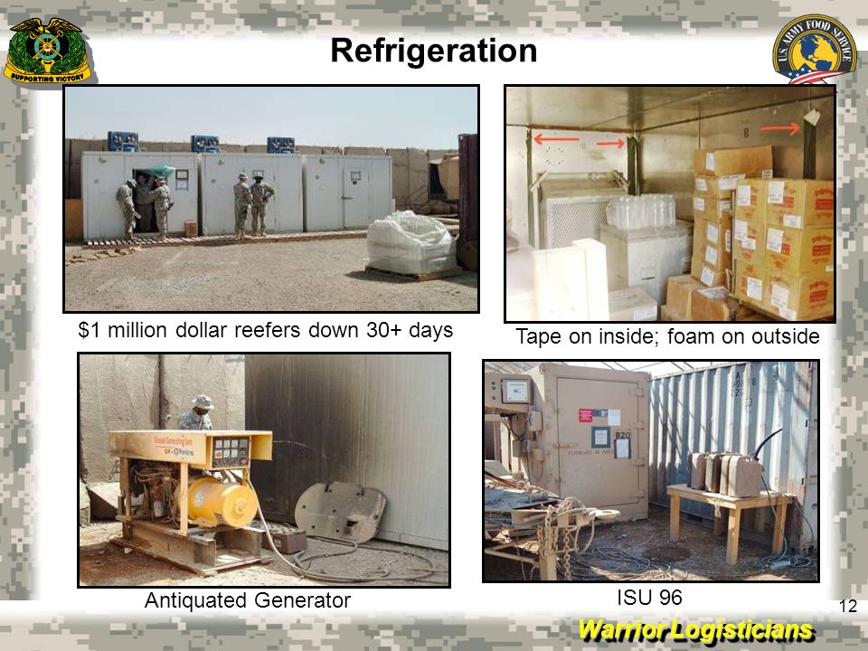 Warrior Logisticians 12 Refrigeration $1 million dollar reefers down 30+ days Tape on inside; foam on outside Antiquated Generator ISU 96