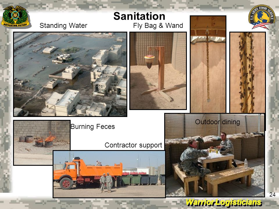 Warrior Logisticians 24 Sanitation Standing WaterFly Bag & Wand Burning Feces Outdoor dining Contractor support