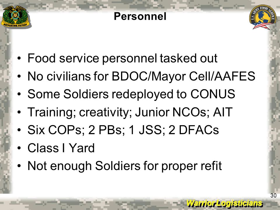 Warrior Logisticians 30 Personnel Food service personnel tasked out No civilians for BDOC/Mayor Cell/AAFES Some Soldiers redeployed to CONUS Training; creativity; Junior NCOs; AIT Six COPs; 2 PBs; 1 JSS; 2 DFACs Class I Yard Not enough Soldiers for proper refit