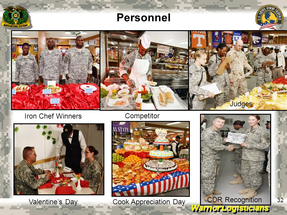 Warrior Logisticians 32 Personnel Iron Chef Winners Valentine's Day CDR Recognition Competitor Cook Appreciation Day Judges